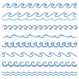 Wave. Blue line wave ornament. Seamless vector marine wave decoration background. Paper wave design. Vector sound waves set. Audio Player. Audio equalizer Royalty Free Stock Images