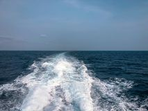 Wave of boat on the blue sea. Image picture Stock Photos