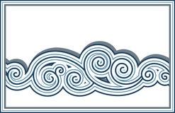 Wave border. Horizontal seamless wave border isolated on white Stock Images