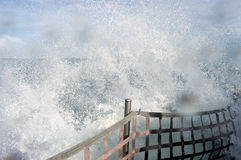 Wave Break. Ing over the bow of the boat royalty free stock images