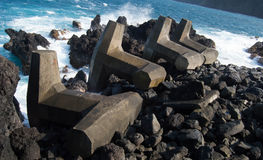 Wave Breakers Against Hawaiian Ocean Royalty Free Stock Image