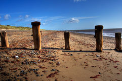 Wave breakers, Spurn Point royalty free stock images