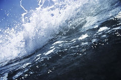 Wave breaking. Big deep blue wave breaking with white foam, close up Royalty Free Stock Photography