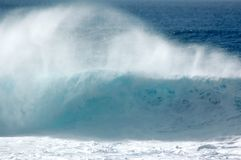 Wave Breaking. The powerful surf of Oahu's North Shore Stock Photography