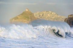 Wave breaking in Bakio Stock Photography