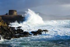 Wave breaking on the coast. Fuerteventura Canary Islands stock photos
