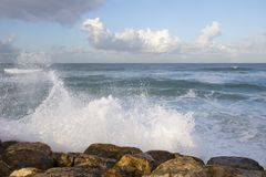A Wave Breaking on the Shore royalty free stock photo