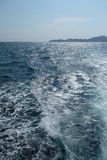 Wave bubble from bottom boat. White wave bubble from stern Royalty Free Stock Photo