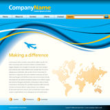 Wave business web template. A business web page template with a large, flowing blue wave design Stock Photos