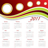Wave calendar 2011. Design in red and green Royalty Free Stock Images