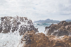 Wave on the coast. Of Mallorca Stock Images