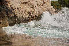 Wave on the coast. Of Mallorca Royalty Free Stock Image