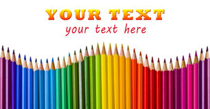 Wave of color pencils with text area Royalty Free Stock Image