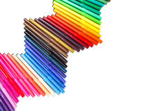 Wave of colorful felt-tip pens Stock Photo