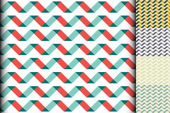 Wave colorful geometric seamless pattern. Five samples of wave patterns different coloring. Oblique line of inclined parallelogram. Vector background for vector illustration
