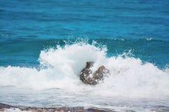 Wave crash on a rock Stock Image