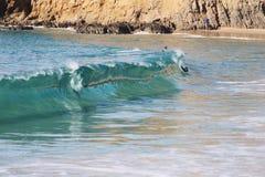 Wave crashing on the california coast stock photos