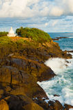 Wave Crashing Over Rock Headland Dagoba Unawatuna Stock Image