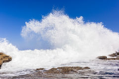 Wave Crashing Rocky Coastline Stock Images