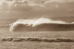 Wave Crashing Sepia Tone Stock Photography