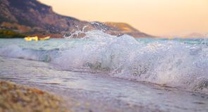 Wave Crushing at the Beach. Wave at Kineta Beach, in Athens Greece Stock Images