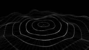Wave 3d Wave delle particelle E Illustrazione di tecnologia di dati Grande visualizzazione di dati illustrazione vettoriale