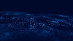 Wave 3d Wave delle particelle Fondo geometrico blu astratto Grande visualizzazione di dati Estratto di tecnologia di dati futuris illustrazione vettoriale