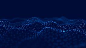 Wave 3d Wave delle particelle Fondo geometrico blu astratto Grande visualizzazione di dati Estratto di tecnologia di dati futuris royalty illustrazione gratis