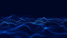 Wave 3d. Wave of particles. Abstract Blue Geometric Background. Big data visualization. Data technology abstract futuristic royalty free illustration