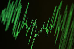 Wave diagram. Audio, seismic or stock market wave diagram. Macro closeup, shallow DOF Royalty Free Stock Images