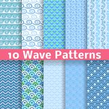 Wave different seamless patterns (tiling). Vector Royalty Free Stock Photo