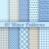 Wave different seamless patterns (tiling). Vector illustration for abstract aqua design. Set of blue wallpaper with waves royalty free illustration