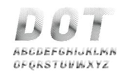 Wave dotted font in retro style. Rounded and pixeled alphabet. vector illustration stock illustration