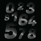 Wave dotted numbers in retro style. Rounded and pixeled alphabet. vector illustration royalty free illustration