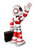 Wave down the Red robot character is carrying a bag. Create 3D H Royalty Free Stock Images