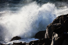 Wave Energy on the California Coastline. Waves from the Pacific Ocean explode against the rocky coast of northern California Royalty Free Stock Photography
