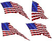wave för amerikanska flaggan fyra royaltyfri illustrationer