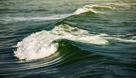 wave för tungt hav för kraschar massiva blåa vågavbrott med signalljuset arkivfoton