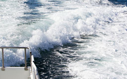 Wave of a ferry ship on the open ocean Royalty Free Stock Photo