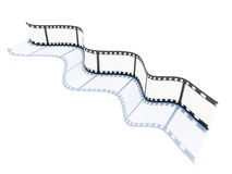 Wave of film. 35 mm photo film forming 3D wave with shadow on white background Stock Image