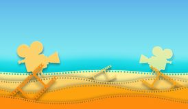 Wave film strip and cinema projector isolated on colorful background. Closeup view for design layout cinema poster, banner, flyer. Template cinema with space vector illustration