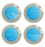 Wave and fishes in a ship window - porthole Stock Image