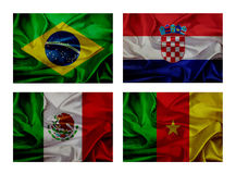 Wave flags for soccer championship 2014. Groups A vector illustration