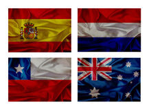 Wave flags for soccer championship 2014. Groups B royalty free illustration