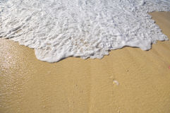 Wave foam of the sea that pops on the beach Royalty Free Stock Photos