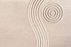 Wave form and circles in a Japanese Zen Garden Royalty Free Stock Photography