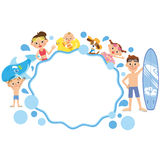 Wave frame and family. Close family of a wave frame and the swimsuit figure Stock Photography