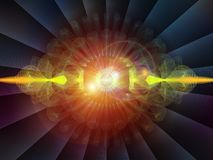 Depth of Radial Oscillation. Wave Function series. Backdrop composed of colored sine vibrations, light and fractal elements for use in the projects on sound Royalty Free Stock Photography