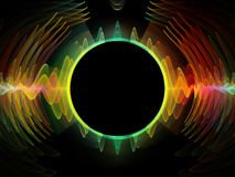 Way of Radial Oscillation. Wave Function series. Background composition of  colored sine vibrations, light and fractal elements on the subject of sound equalizer Royalty Free Stock Photo