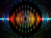 Way of Radial Oscillation. Wave Function series. Background composition of  colored sine vibrations, light and fractal elements on the subject of sound equalizer Stock Photos